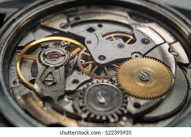 Detail of watch machinery on the table.