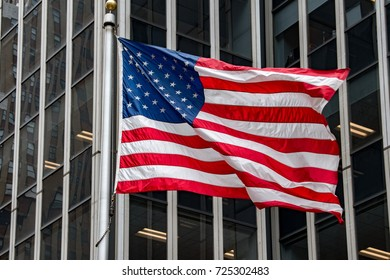 detail of waving usa flag in new york 5th street avenue