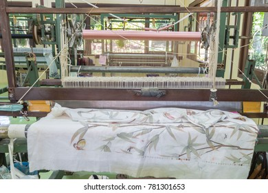 Detail of weaving loom for homemade silk or textile production