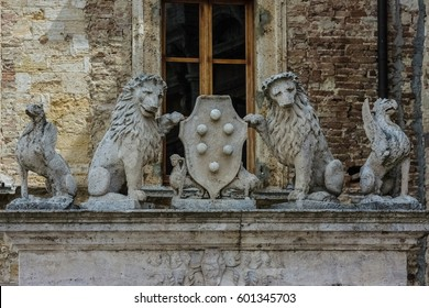 Detail of the well of Griffins and Lions, Montepulciano, Tuscany Italy.