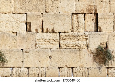 Detail of Western Wall in Jerusalem Old City, Israel.