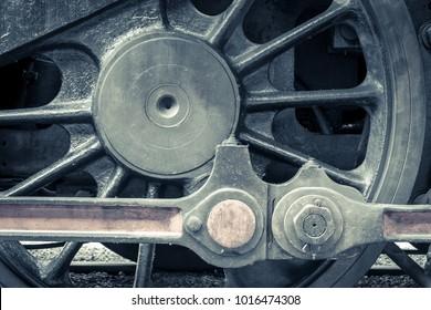 Detail of wheel of old steam locomotive, vintage effect