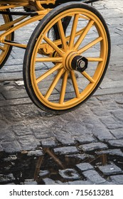Detail of wheels of typical chariot in Seville