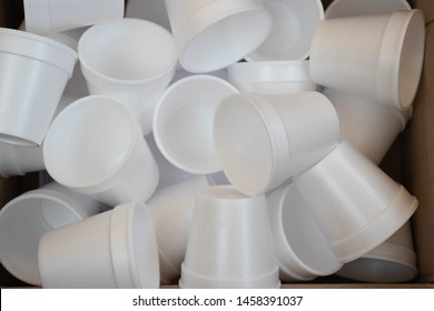 Detail of white styrofoam cups