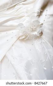 Detail of a white wedding dress
