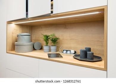 Detail of white wooden closet