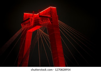 Detail of the Willemsbrug by night, Rotterdam, the Netherlands