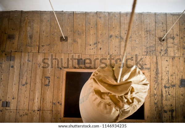 Detail of winch in  hop store house in Zatec town. Czech Republic.