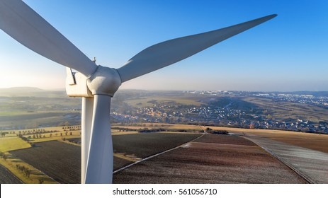 Detail of wind turbine in Cadenbronn, Moselle, Lorraine, France