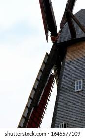 detail of windmill with red blades in Bokrijk, Genk, Belgium