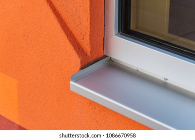 Detail of window sill in modern architecture building.