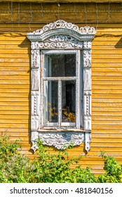Detail of a window of a traditional wooden house in Rostov, Golden ring,  Russia