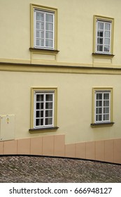 Detail, windows on Baroque building, Kutna Hora, Czech Republic