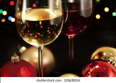 Detail wine glasses ready for celebrating/Glasses of wine