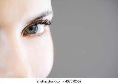 Detail of woman's face showing left eye