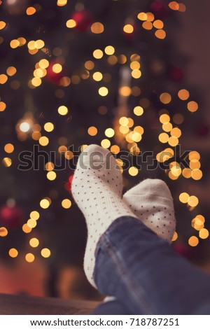 7a2b4cd000a Detail Womans Feet Wearing Warm Winter Stock Photo (Edit Now ...