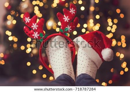 7a2b4cd000a Detail Womans Feet Wearing Warm Winter Stock Photo (Edit Now ...