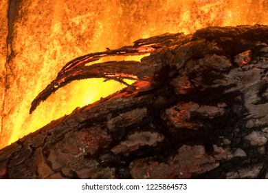 detail of wood combustion