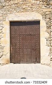 detail of wood door at Girona in Catalonia Spain