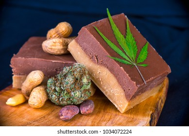 Detail of wood tray with Cannabis infused chocolate peanut fudge - medical marijuana edibles concept