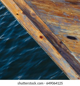 Detail of a wooden boat on water in Norway