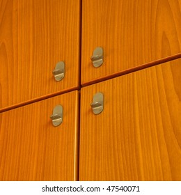 Detail of a wooden cabinet furniture background