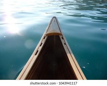 Detail Of Wooden Canoe In Water