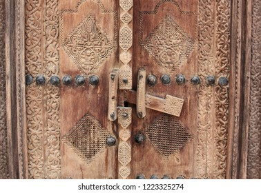 Detail of wooden door at Shaikh Isa bin Ali House in Al Muharraq, Bahrain