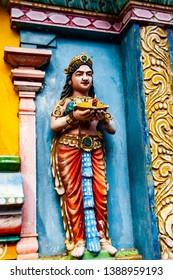 Detail Work In Gopuram, Hindu temple in Pondicherry, India