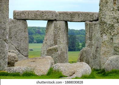 Detail of the world famous landmark Stonehenge - well-known tourist attraction in Summer with much copyspace