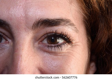 Detail of wrinkles in a woman's eyes