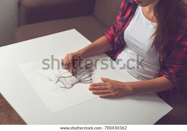 Detail Young Fashion Designer Making Sketch People Stock Image 700430362