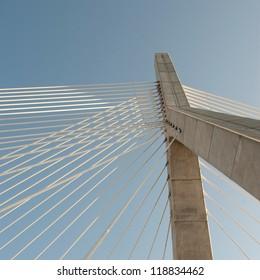 Detail of Zakim Bunker Hill Bridge in Boston, Massachusetts, USA