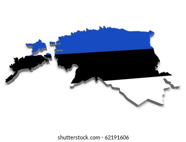 detailed 3d map of estonia with flag