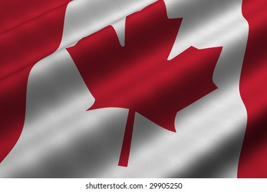 Detailed 3d rendering closeup of the flag of Canada.  Flag has a detailed realistic fabric texture.