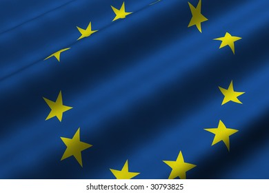 Detailed 3d rendering closeup of the flag of the European Union.  Flag has a detailed realistic fabric texture.