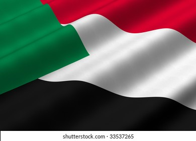 Detailed 3d rendering closeup of the flag of the Sudan.  Flag has a detailed realistic fabric texture.