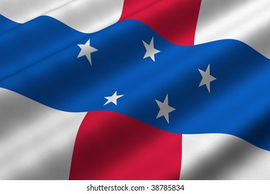 Detailed 3d rendering closeup of the flag of Netherlands Antilles.  Flag has a detailed realistic fabric texture.