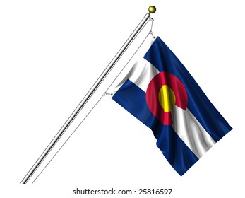 Detailed 3d rendering of the flag of the US State of Colorado hanging on a flag pole isolated on a white background.  Flag has a fabric texture and a clipping path is included.
