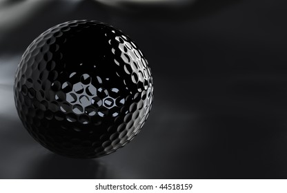 Detailed 3D-render of a black, glossy golf ball over a dark grainy surface. JPEG includes alpha channel as path. Very elegant image with copy space on the side.