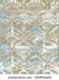 detailed abstract texture or grunge ; For art texture, vintage, ethnic , modern damask pattern , carpet, rug, scarf, clipboard , shawl pattern. colors are blue and beige