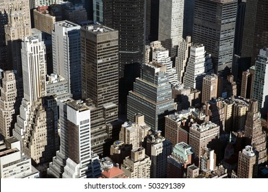 Detailed aerial shot of New York skyscrapers, USA