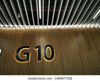 detailed airport departure gates huge numeric number signs G5 to 10