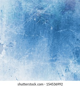 Detailed blue grunge background with splats and stains