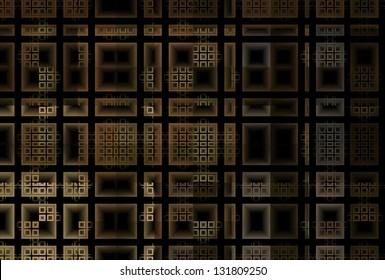 Detailed brown / copper tiled mosaic design on black background