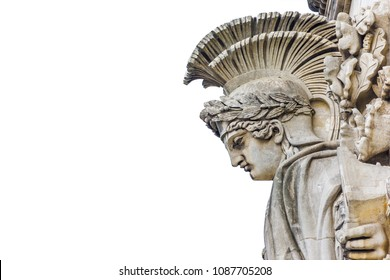 Detailed carvings on the Arch of Triumph in Paris, France - isolated on a white background.
