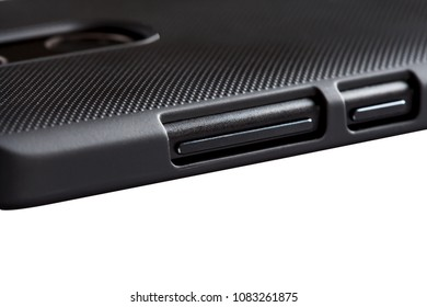 Detailed close up shot of a modern high-end smartphone on white background