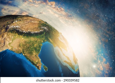 Detailed colorful Earth, highly detailed planet earth in the morning Elements of this image furnished by NASA