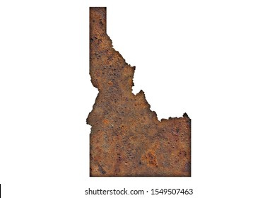 Detailed and colorful image of map of Idaho on rusty metal