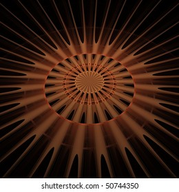 Detailed copper / orange abstract sun / explosion on black background (3D perspective)
